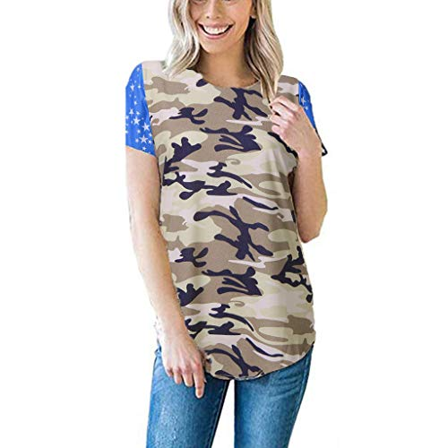 Women's American Flag Camo Long Vest Tank Tops USA 4Th of July Summer Patriotic Lightweight Tees Cover Up Tops Blouse