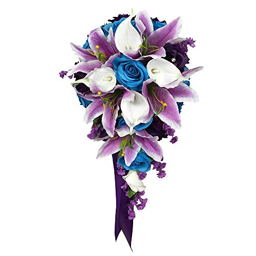 Amazon Com Angel Isabella Cascade Wedding Bouquet Turquoise