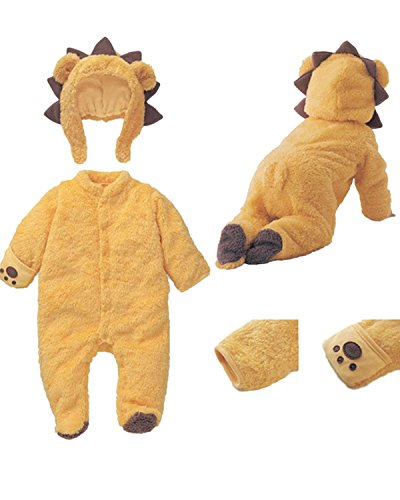 Hotmiss Infant Baby Winter Cosplay Animal Footed Romper Bodysuit Overalls Outfits Set With Hats  Yellow  85Cm 9 12M