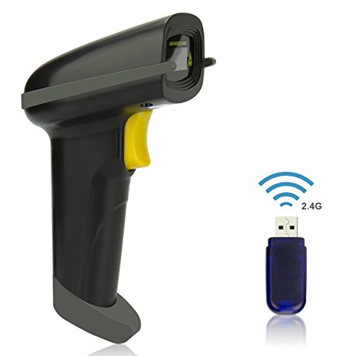 Wireless Barcode Scanner, USB 1D Laser Bluetooth Barcode Reader Handhold Bar Code Scanner with USB Receiver for Store,Supermarket,Warehouse(Black)