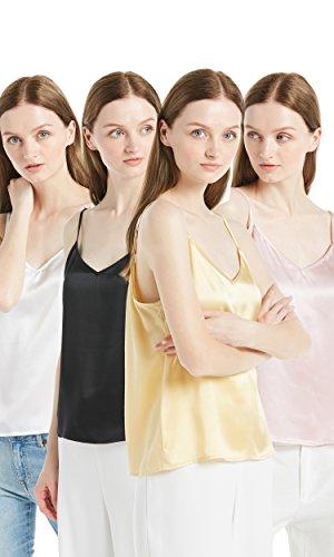 LILYSILK Conjunto de Tops Tirantes Ajustables Cuello V - Camiseta Sin Mangas 100% Seda de Mora 22MM, Super Cómodo, Transpirable y Lujoso Packx4 (Blanco, Negro, Rosa Rosado & Oro)