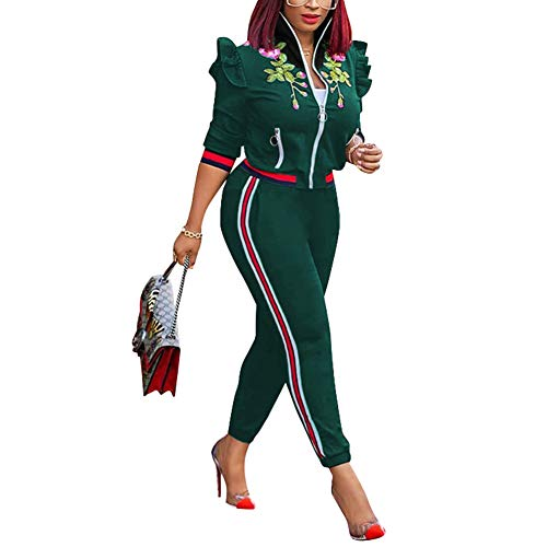 (Womens Two Piece Outfits Ruffle Sleeve Stand Collar Zipper Jacket Top and Pants Set Suits)