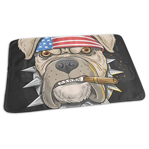 Whages Personalized Lovely Baby Reusable Waterproof Portable American Bulldog Boss Changing Pad Home Travel 27.5