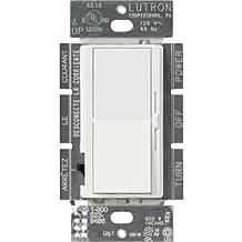 Lutron DVSCCL-153P-SW Diva Satin Colors Single Pole/3-Way CFL/LED Dimmer, Snow, 150-watt