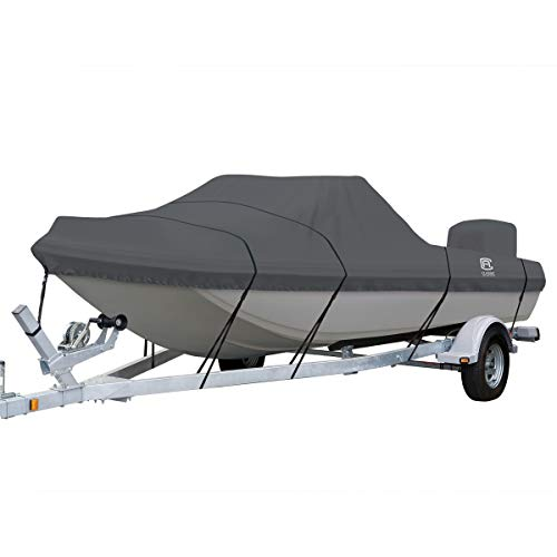 (Classic Accessories StormPro Heavy Duty Tri-Hull Outboard Cover with Support Pole, Fits Boats 15'6