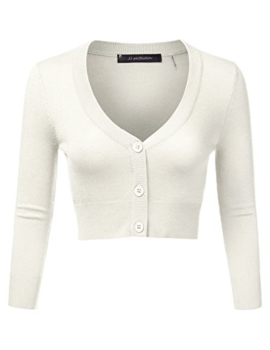[JJ Perfection Women's Solid Woven Button Down 3/4 Sleeve Cropped Cardigan IVORY S] (Long Sleeve Woven Sweater)