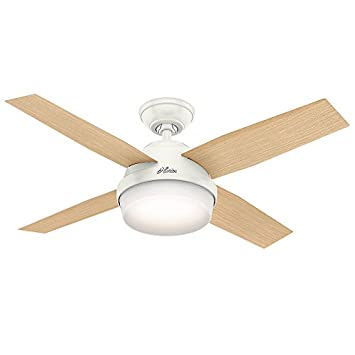 Hunter 59246 Contemporary Dempsey Fresh White Ceiling Fan With Light Remote, 44