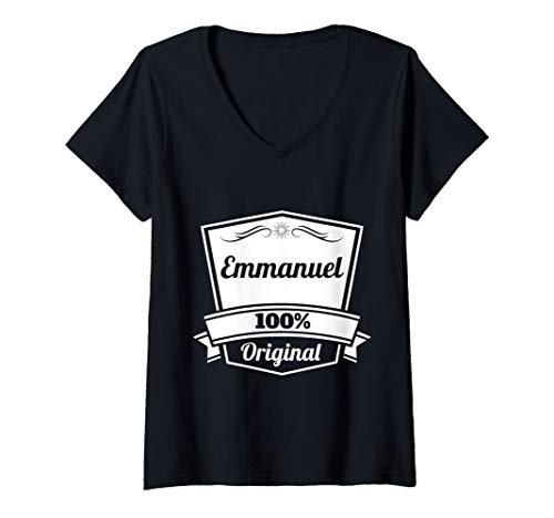 Womens Emmanuel Gift / Emmanuel Personalized Name Birthday V-Neck T-Shirt