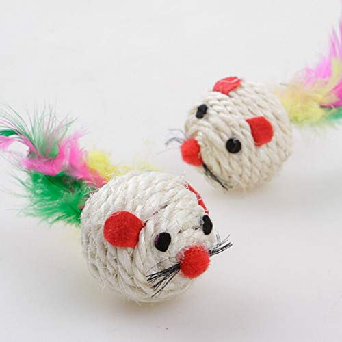 Amazon.com : Best Quality 3pcs/Set Cute Natural sisal mice Ball cat Toy Kitten Feather sisal Rope Mouse Rattle Catcher Toy pet Supplies : Pet Supplies