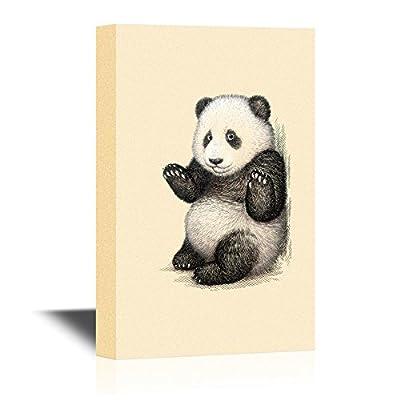 Canvas Wall Art - Cute Panda Raising Its Hands - Gallery Wrap Modern Home Art | Ready to Hang - 12x18 inches