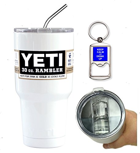 YETI Coolers Custom 30 Ounce (30 oz) (30oz) Insulated Rambler Travel Tumbler Cup Mug Bundle (Includes Spill Proof Slider Lid, Bottle Opener Keychain and Stainless Steel Straw) (White Gloss)