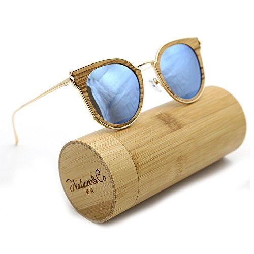 Natwve&Co Wooden Bamboo Sunglasses 2018 Fashionable Polarized Lens With Metal Temple For Men Women (Light Wood Grain, - Make To How Glasses Wooden