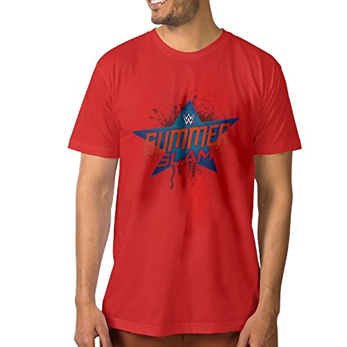 DOME WWE SummerSlam 2016 POSTER Cotton T Shirts For Men Red