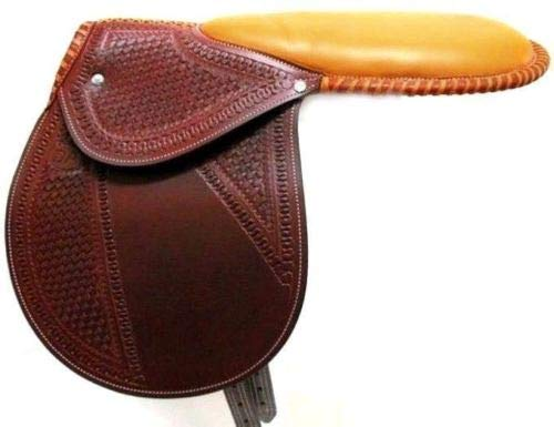 D.A. Brand Fancy Tooled Dark Cherry Leather Racing Exercise Saddle Horse Tack