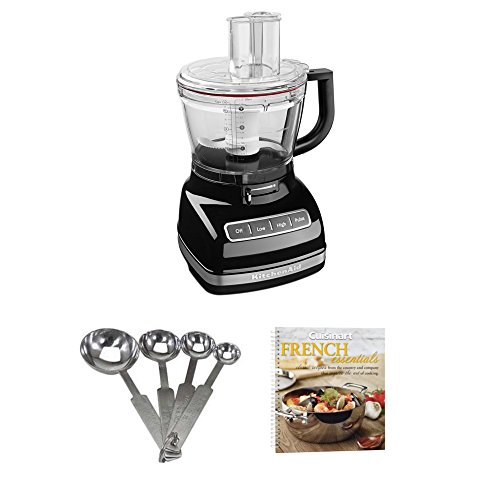KitchenAid KFP1466OB 14-Cup Food Processor with Exact Slice System & Dicing Kit (Black) + Cookbook and Measuring Spoons