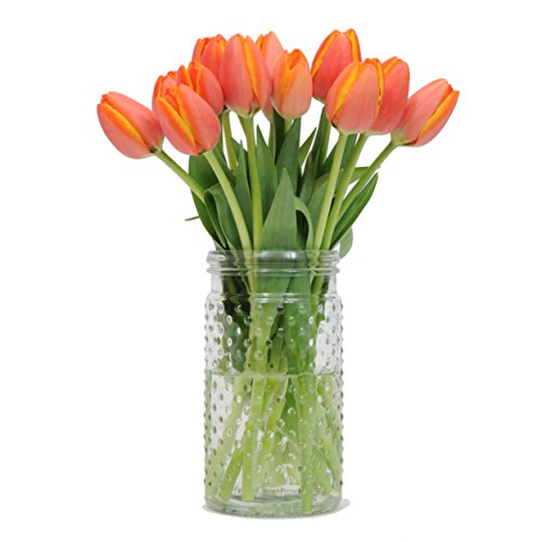 Stargazer Barn - Pumpkin Spice Tulips with Unique Hobnail Glass Vase - Orange Juice Tulips - Sustainably Grown in California - Orange Flowers - Thanksgiving Flowers - Autumn Flowers - Home Décor