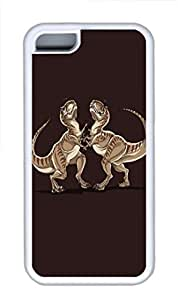 iPhone 5C Case and Cover Minimalist Dinosaurs Fight HAC1014344 TPU Silicone Rubber Case Cover for iPhone 5 and iPhone 5C White