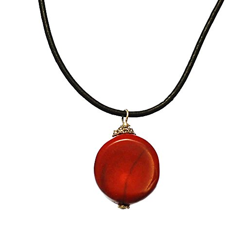- 002 Ny6Design Red Coral Pendant Leather Necklace w Silver Plated Clasp 16.5