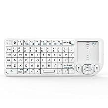 Rii® Bluetooth Mini Keyboard k02 with Touchpad Mouse,Blacklit,Build in Rechargable Li-ion Battery for Smartphone,Linux, Android,Windows 7 8(White,US Layout)