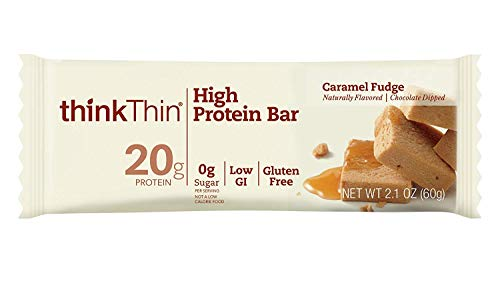 (thinkThin High Protein Bars - Caramel Fudge, 20g Protein, 0g Sugar, No Artificial Sweeteners, Gluten Free, GMO Free*, Best Nutritional Snack/Meal bar, 2.1 oz bar (10Count))