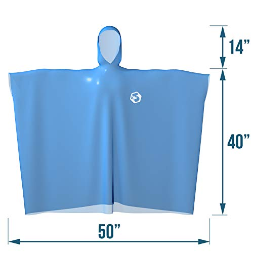 Foxelli Disposable Rain Ponchos (Family 6 Pack) - Emergency Rain Ponchos with Hood for Adults, Women & Men, Heavy Duty, Lightweight, Waterproof for Travel & Camping