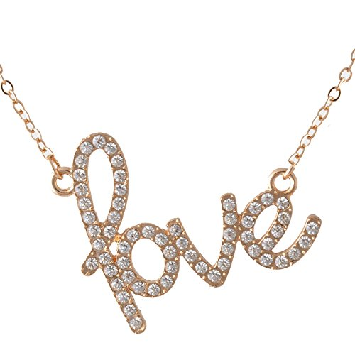 Love Necklace Crystal Jewelry Pendant - for Girlfriend/ Couples/ Wife/ Mom/ Women/ Sisters & All Family Female Member Especially for Valentine's Day Great Gift (Gold Color) (Good Valentines Day Gifts For Men)