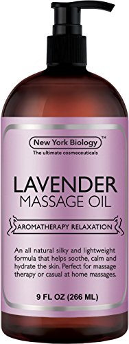 Lavender Massage Oil – 100% All Natural Ingredients – Lavender Sensual Body Oil Made with Essential Oils - Great For Muscle Relaxation, Stiff Joints & Deep Tissue – 9 FL Oz