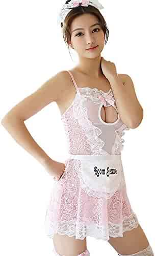 985281504 TOMORI Womens Maid Cosplay Lingerie Set Lace Babydoll Outfit Costumes Fancy  Dress for Sex