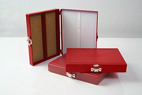 (Premiere Brand Crimson ABS Plastic 100pc Microscope Slide Storage Box)