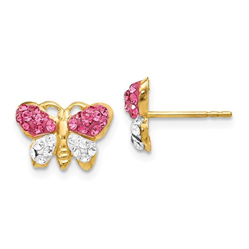 14k Yellow Gold Pink/white Crystal Butterfly Post Stud Ball