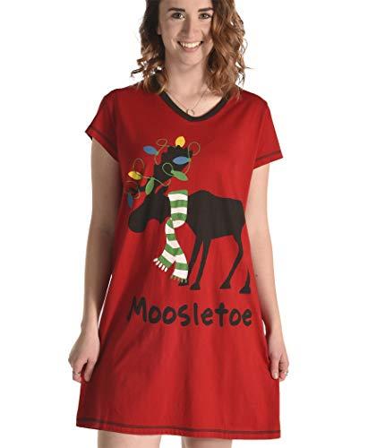 Moosletoe Women's Animal Pajama Nightshirt by LazyOne   Cute Animal Nightgowns for Ladies -