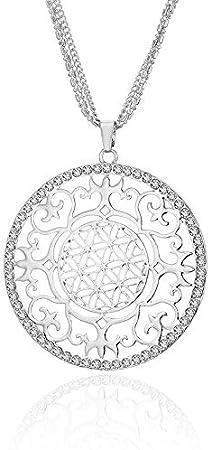 QFJCNZ Collar Mujer Flor De La Vida Yoga Collar Geometría Sagrada Joyería Boho Hueco Redondo Colgante De Cristal Collar Largo Suéter Cadena