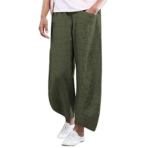 JOFOW Harem Pants Womens Solid Vertical Striped Causual Loose Pant Plus Size S-2XL