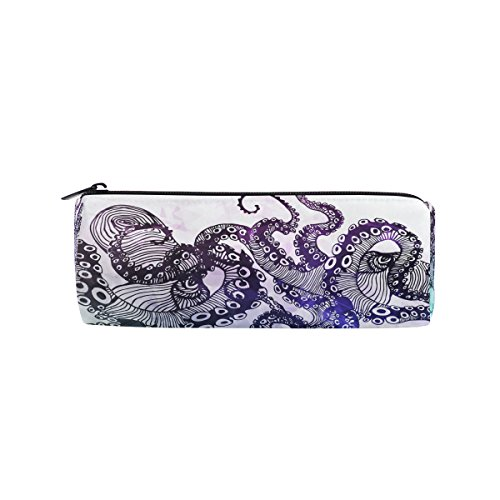 WOZO Abstract Octopus Hipster Animal Pen Pencil Case Makeup Cosmetic Pouch Case Travel Bag ()