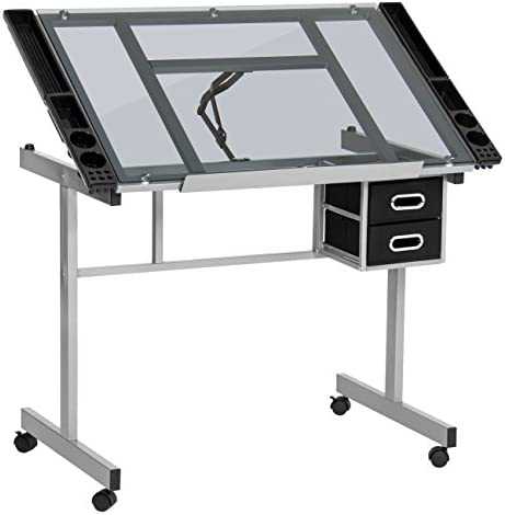 Best Choice Products Office Desk Station Adjustable Drafting Table w Wheel