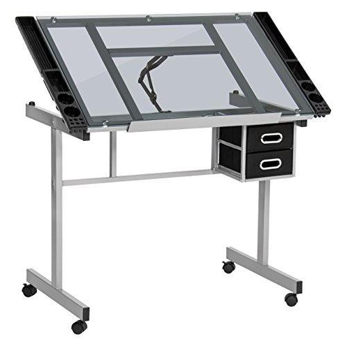 Best Choice Products Office Drawing Desk Station Adjustable Drafting Table w/Tempered Glass, Wheels - Silver/Black ()