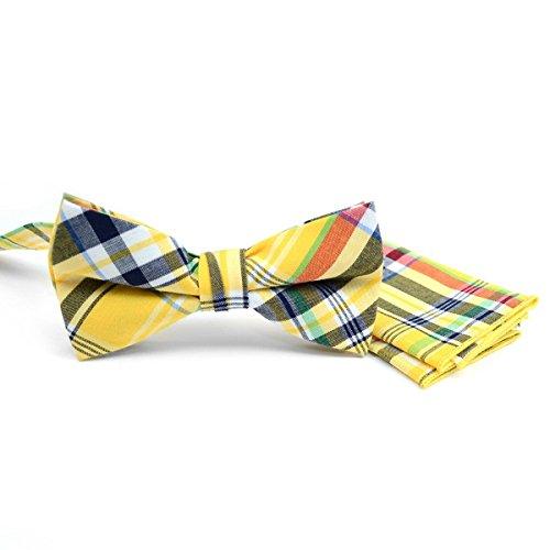 Men's Hipster Cotton Plaid Pre-Tied Bow Tie & Pocket Square Hankie Set (Rhode - Linen Rhode Island