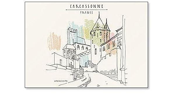 Castillo de Carcassonne, Francia, Europa. Imán para nevera con diseño de dibujo a mano en estilo retro: Amazon.es: Hogar