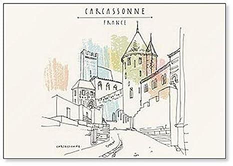 Castillo de Carcassonne, Francia, Europa. Imán para nevera con ...