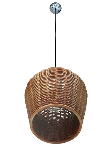 KOUBOO Handwoven Wicker Pod Pendant Light, Diameter 11.5 X 12.5 , Rustic Brown