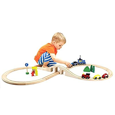 Conductor Carl Value Bundle of 4 Wooden Train Track Booster Sets | Deluxe Train Track Sets (16 pcs.) | Compatible with Major Brands | Classic Hobby Toy: Toys & Games