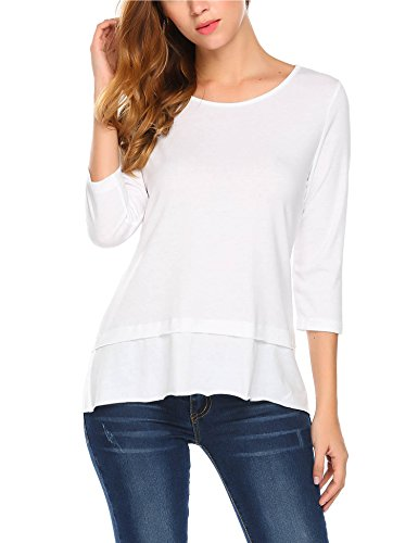 Mofavor Womens Casual T Shirt 3/4 Sleeve Round Neck Layered Hem Loose Solid Comfy Tee White - Knit White Soft Blouse