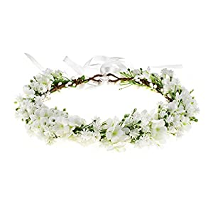 Floral Fall Artificial Baby Breath Flower Halo Wedding Crown Lilac Bridal Headpiece Greenery Crown HC-24 25