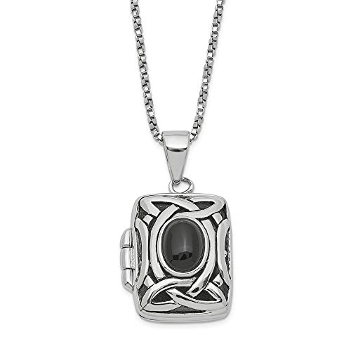 925 Sterling Silver Black Onyx Square Locket Chain Necklace 18 Inch Pendant Charm Shaped W/chain Fine Jewelry Gifts For Women For Her