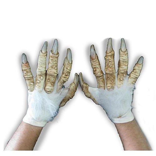 Yeti Costume Gloves (White Werewolf Yeti Abominable Beast Hands Scary Adult Halloween Costume Gloves)