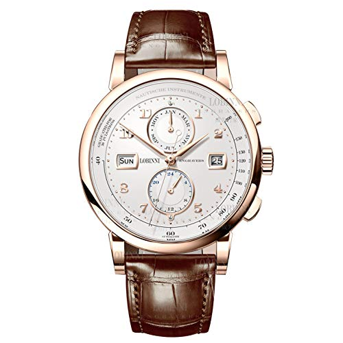 (LOBINNI Men Vogue Dress 50M Waterproof Business Automatic Mechanical Wrist Watch with Month Week Date 24 Hour Format (Rosegold-White Dial) )