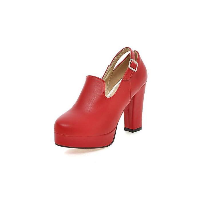 Zq Scarpe Di Mujer-tac ¨ ® N Robusto-tacones piattaforma punta Redonda-tacones-vestido fiesta noche-semicuero-negro rosso mandorla Nero Us3 5 Eu33 Uk1 5 Cn32