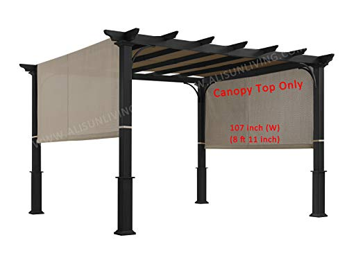 ALISUN Sling Canopy (with Ties) for The Lowe's Garden Treasures 10 FT Pergola #S-J-110 & TP15-048C (Beige) (Canopy TOP ONLY) (Pergolas Shade Do Provide)