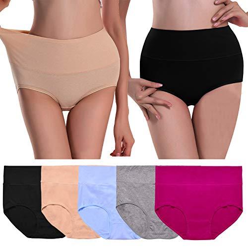 Womens Underwear,High Waist No Muffin Top Cotton Full Coverage Brief Ladies Panties Lingerie Undergarments for Women,Multi,M ()