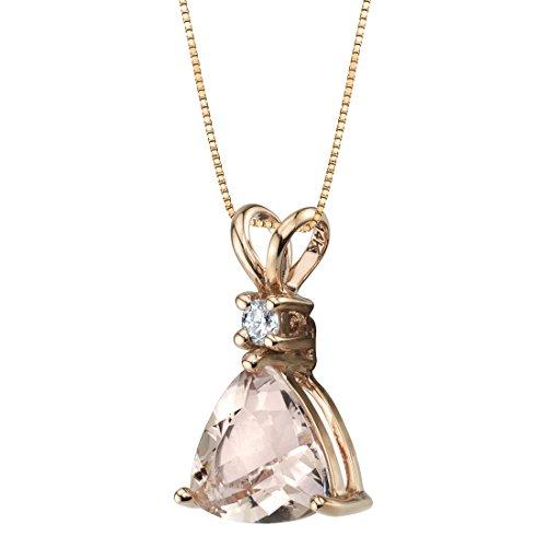 14K Rose Gold Genuine Morganite and Diamond Trillion Cut Pendant 1.75 - Necklace Diamond Trillion